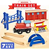 Dragon Drew 7 Piece Wooden Train Accessory Set – Includes Train Car, Station Platform, Raised Bridge and Tracks and Railroad Crossroad - Compatible with Brio, Thomas, Chuggington and All Major Brands