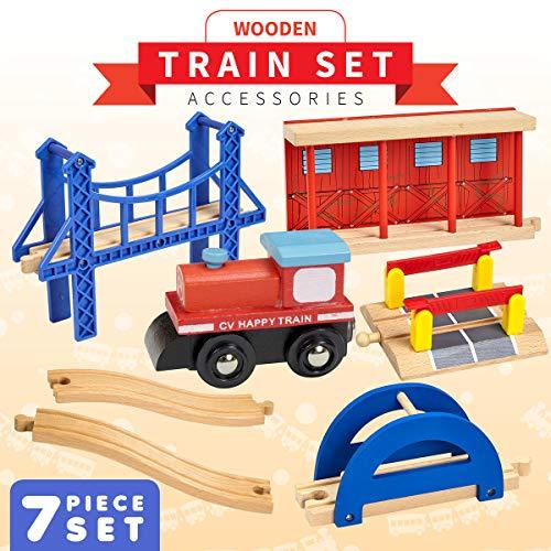 Dragon Drew Wooden Train Accessory Set – Includes Train Car, Station Platform, Raised Bridge and Tracks and Railroad Crossroad - Compatible with Brio, Thomas, Chuggington and All Major Brands ()