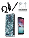 4 Items Combo For ZTE ZMAX Pro Z981 Case [Shoparound168] Teal Blue Rock Fitted Bling Hybrid Hard Cover + Car Charger + Free Stylus Pen + Free 3.5mm Earphone