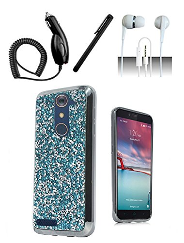 Price comparison product image 4 Items Combo For ZTE ZMAX Pro Z981 Case [Shoparound168] Teal Blue Rock Fitted Bling Hybrid Hard Cover + Car Charger + Free Stylus Pen + Free 3.5mm Earphone
