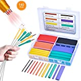 Pointool Wire Heat Shrink Tubing- Heat Shrink Tube Kit Wire Shrink Wrap Electrical Waterproof Automotive Marine Heat Shrink Wrap Tubing Assortment with Adhesive Lined for Wires(Shrink Ratio3:1,140Pcs)