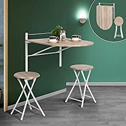 Lillyarn 3 pcs wooden kitchen dining table set wall-mounted drop-leaf folding breakfast table and 2 bar stools set