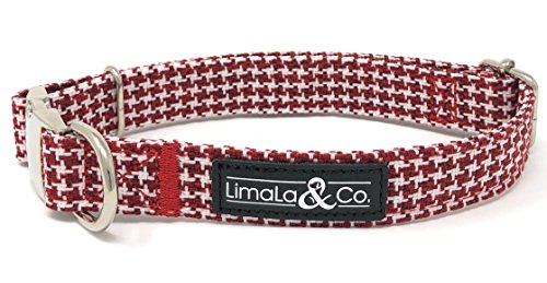 LimaLa & Co. Patterned Adjustable Puppy Dog Collar: Premium Stylish Collars Dogs Metal Buckle, Sizing Clip D-Ring - Male Female Dog Accessories Cute Pet Supplies - Houndstooth, Medium from LimaLa & Co.