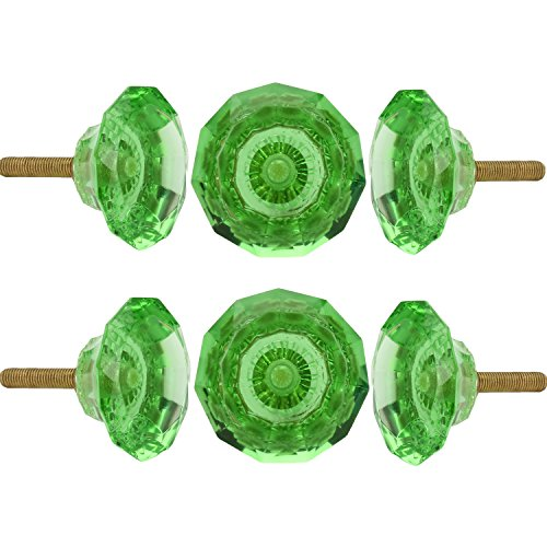 Set of 6 Cut Glass Knobs Kitchen Cabinet Cupboard Glass Door Knobs Dressser Wardrobe and Drawer Pull By Perilla Home (Green) Green Color Drawer Pulls Knobs