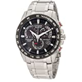 Mens Watch Citizen AT4008-51E Atomic Stainless Steel Black Dial Eco-Drive Chron