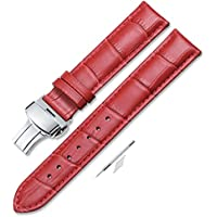 Leather Watch Band Women Men Watch Strap Red Watch Straps Deployment Buckle 16mm 18mm 20mm