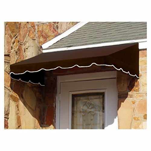 Awntech 7-Feet Dallas Retro Window/Entry Awning, 16-Inch Height by 30-Inch Diameter, Gray/White from Awntech