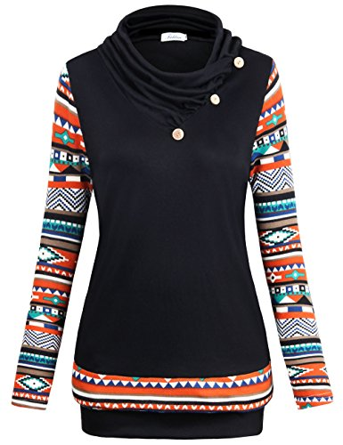 Faddare Sweatshirts for Women with Pockets, Teen Girls Fashion Patchwork Long Sleeve Top,Black M