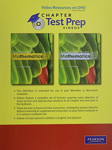 Video Resources on DVD with Chapter Test Prep Videos for Basic College Mathematics