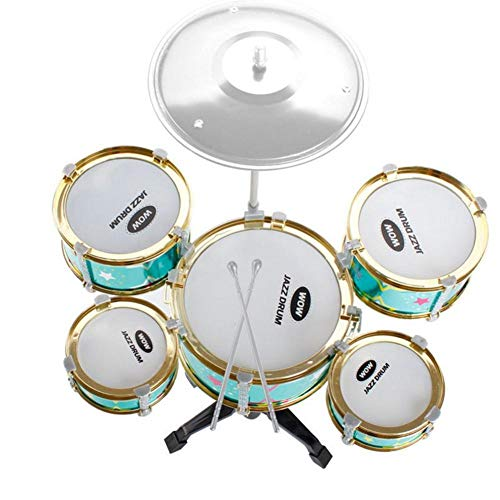 Children's Large Five-Drum Toy with Chairs Simulation Jazz Drum Children's Musical Instrument Set with Stand Cymbal 2 Sticks 1 Stool Toys for Kids Green Purple
