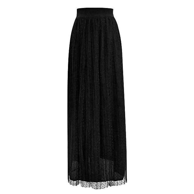 Falda larga con transparencia al final, de cintura elastica para fiestas, cocteles, etc.