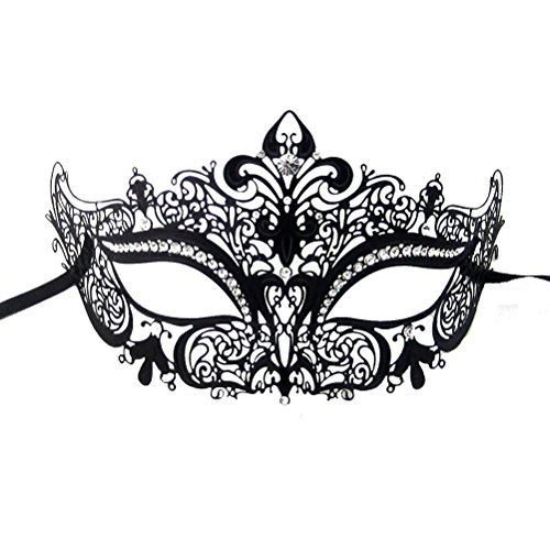 xvevina-womens-venetian-laser-cut-metal-masquerade-mask-black-metal-clear-stones
