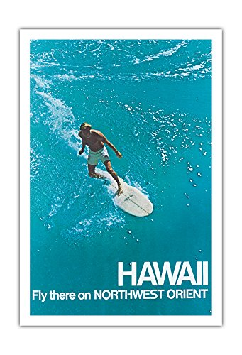 (Pacifica Island Art Hawaii - Surfer - Fly there on Northwest Orient Airlines - Vintage Airline Travel Poster c.1970s - Fine Art Print - 30in x 44in )