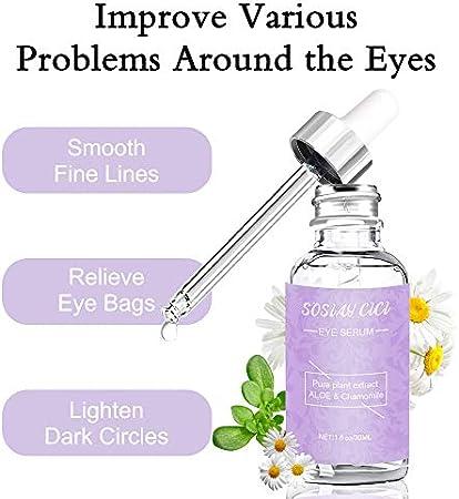 Suero Para el Contorno De Ojos, Suero Antiarrugas Natural, Reducir Líneas Finas y Círculos Oscuros, Suero Antiedad para Arrugas y Bolsas para Los Ojos, Contorno de Ojos Serum 30ml
