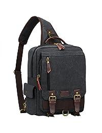 S-ZONE One Strap Sling Canvas Cross Body 13-inch Laptop Messenger Bag Travel Shoulder Backpack