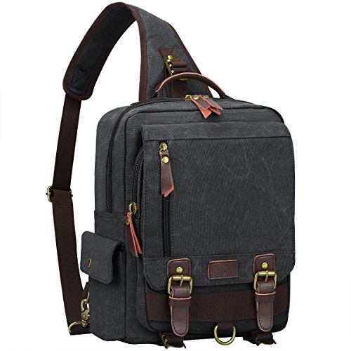 S-ZONE One Strap Sling Canvas Cross Body 13-inch Laptop Messenger Bag Travel Shoulder Backpack Dark Gray