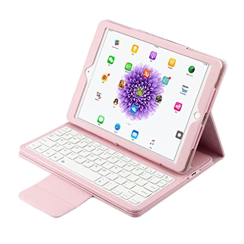 Creazy® For iPad Pro 9.7inch Flip Wireless Bluetooth Keyboard Leather Case Cover (Pink)
