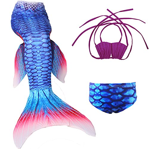 Lonchee Girl's 3pcs Mermaid Tail Swimmable Princess Bikini Set Costume Swimsuit Can Match Monofin for Swimming - Dries Noten Van Mens Bag