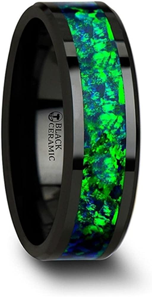 Thorsten Pulsar Black Ceramic Ring with Emerald Green and Sapphire Blue Color Opal Inlay Beveled Edges 6mm Width from Roy Rose Jewelry