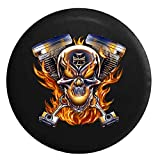 Flaming Pistons Racing Skull Iron Cross V Twin Motorcycle FlamesSpare Tire Cover Black 26-27.5 in