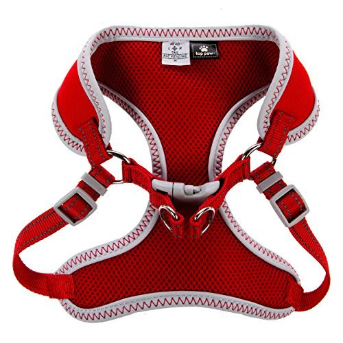 Top Paw Sporty Comfort Adjustable Dog Harness, RED LARGE