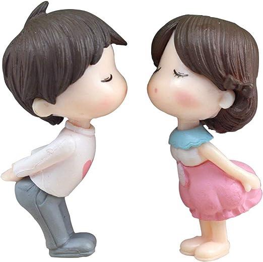 1 par de figuras decorativas para el hogar, jardín, románticas, para parejas, adorno de resina, para escritorio, para niños y niñas, para amantes de la boda en miniatura (rosa + blanco): Amazon.es:
