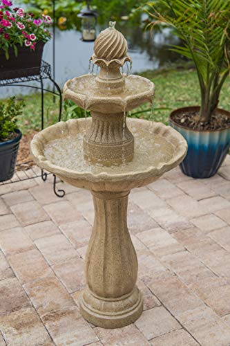Kenroy Home 51009SNDST Frost Outdoor Tiered Solar Fountain, 44 Inch Height, Sandstone
