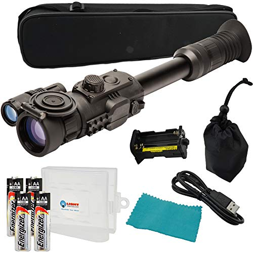 Sightmark Photon RT Digital Night Vision Riflescope, SM18015, Black Bundle with 4 Energizer AA Batteries and a Lightjunction Battery - Vision Black Night Thermal