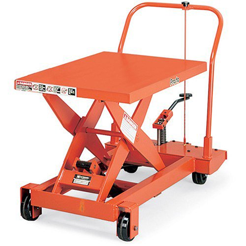 Lift Pump Scissor Table - Presto Mobile Manual Scissors Lift Tables - 1000-Lb. Capacity - 24