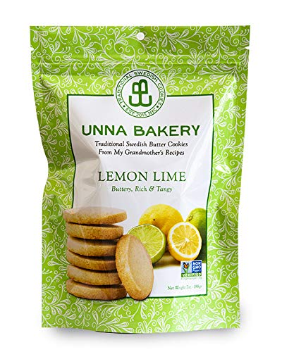 (Lemon Lime Cookies from Unna Bakery. Made with all-natural, non-gmo ingredients and real butter. No additives, soy or palm oil. Certified kosher. Based in New York. 7 oz, 16 cookies.)