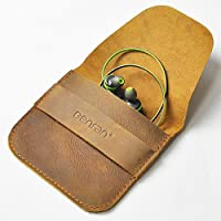 Benfan Leather Earbuds Case Earphone or Smartphones Charging Cable SMD card USB cable Earphone Case Headphone Case Carrying Case