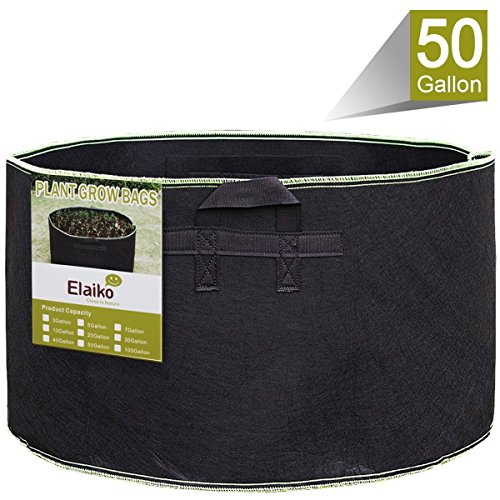 Elaiko Grow Bags with Green Thread Sewing Fabric Grow Pots Kits with Handles Home Gardening (50 Gallon) by Elaiko