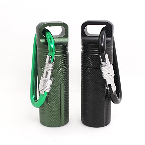 SENHAI Air-Tight EDC Accessory Case Waterproof Pill Capsule Fob Bottle, 2 Pack Aluminum Outdoor Dry Containers Match Seal Storage Case, with 2 Locking Carabiners - Black, Green