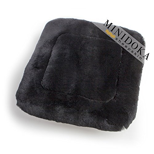 Australian Sheepskin Seat Pad, Thick Short Wool for Maximum Comfort, Natural Leather for Premium Fit, Non-Slip Backing, Black, 20 x 20, Minidoka Sheepskin