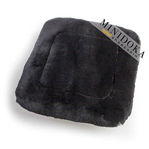 Australian Sheepskin Seat Pad, Thick Short Wool for Maximum Comfort, Natural Leather for Premium Fit, Non-Slip Backing, Black, 20 x 20, Minidoka (Fit Sheepskin Pad)