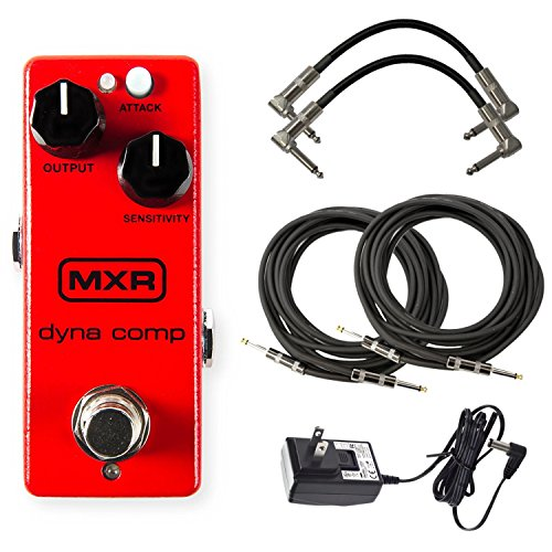 Dyna Comp Compressor - MXR M291 Dyna Comp Mini Compressor Pedal Bundle with 4 Free Cables