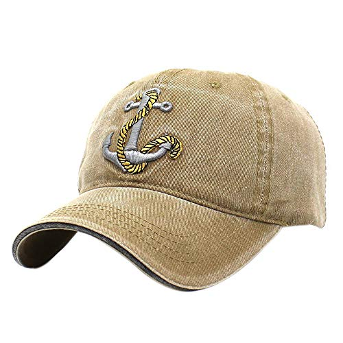 XRDSS Anchor Embroidered Cotton Adjustable Dad Hat Distressed Retro Baseball Hat Khaki ()