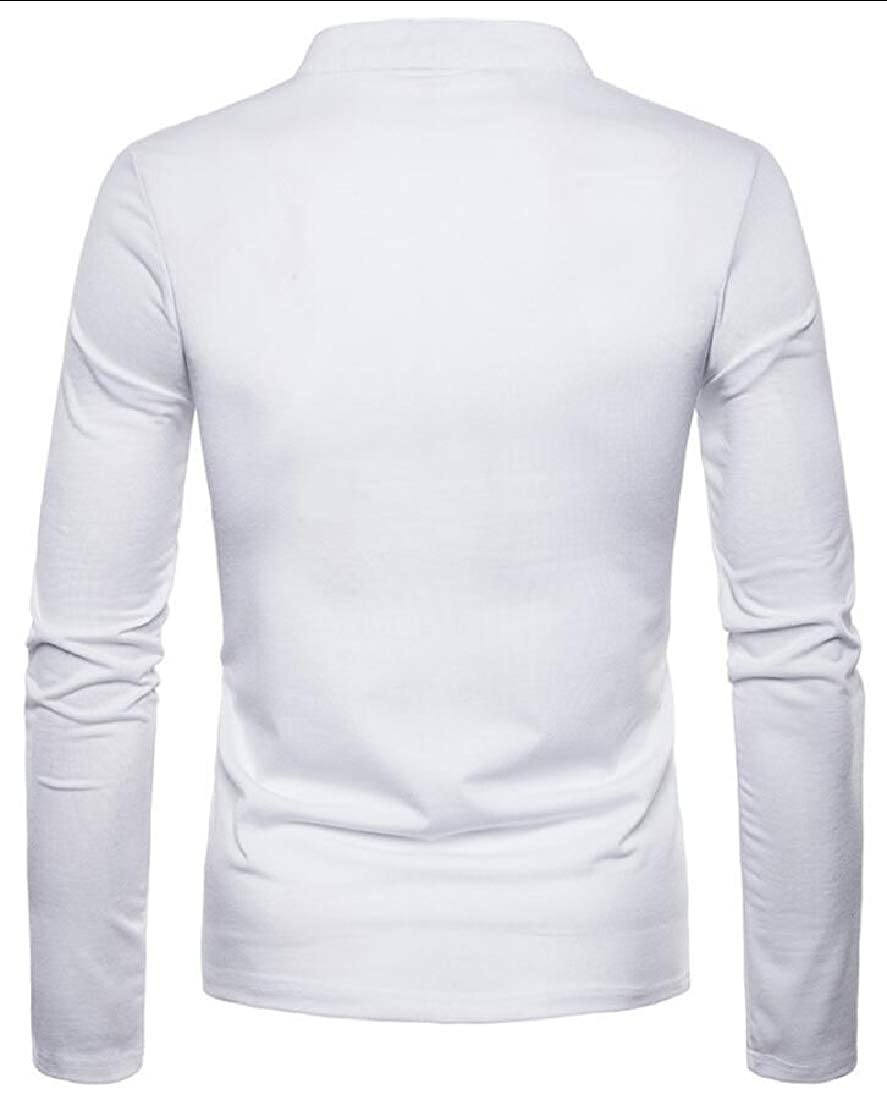 ouxiuli Men Slim Fit Casual Lined V Neck Basic Long Sleeve Henley Tee Top T-Shirts