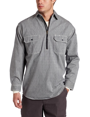 (Key Apparel Men's Long Sleeve Zip Front Hickory Stripe Logger Shirt, Hickory Stripe,)
