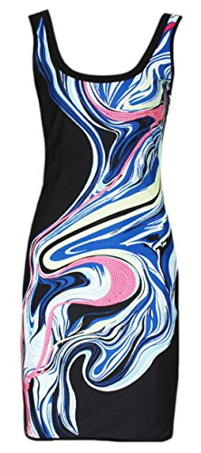erdbeerloft - Damen Club Designer Mini Kleid Sommer Kleid, cooler Print, 38-40, Mehrfarbig