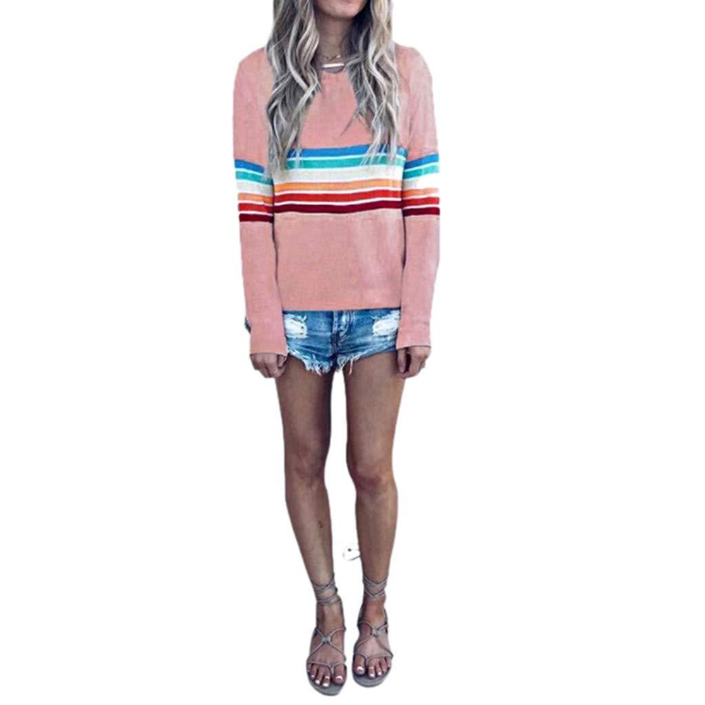 Respctfu ✶ Women Plus Size Tops for Women, Ladies Sleeve Plaid Patchwork Long Top Asymmetrical Hem Shirt Casual Shirt Pink