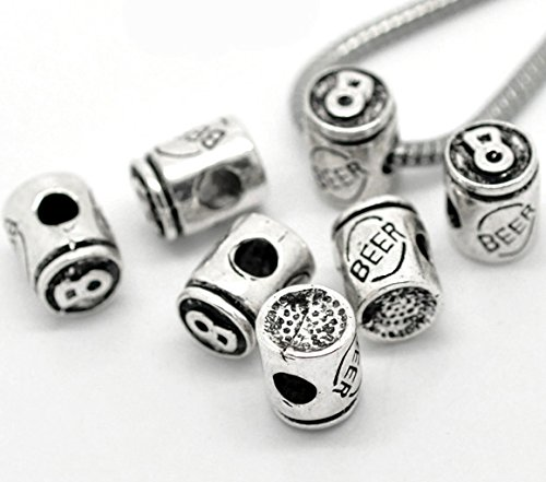 (PEPPERLONELY Brand 10PC Antique Silver Beer Charm Beads Fit European Bracelet 1/2 x 3/8 Inch (13MM x 10MM))