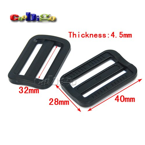 12pcs 1-1//4 Plastic Black Curve Slider Tri-Glide Adjust Tri-Ring Buckles for Dog Collar Harness Backpack Straps FLC129-B3