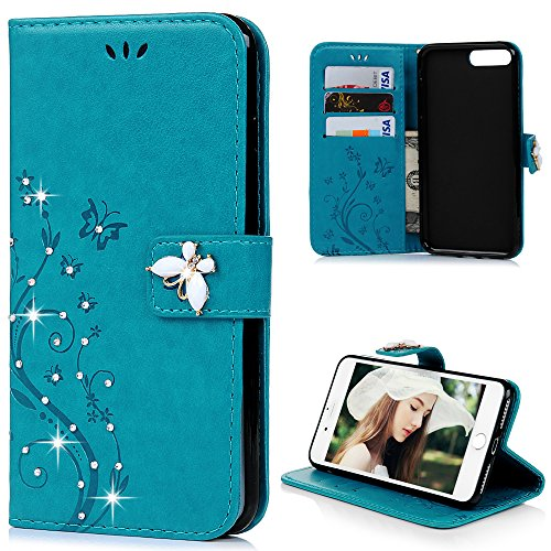 iPhone 7 Plus Case 2016, iPhone 8 Plus Case 2017 - Mavis's Diary 3D Handmade Wallet Embossed Floral Butterfly with Diamonds Gems PU Leather Elegant Flip Folio & Card Slots,Soft TPU Inner Cover - Blue - Teen Butterfly Queen Costumes