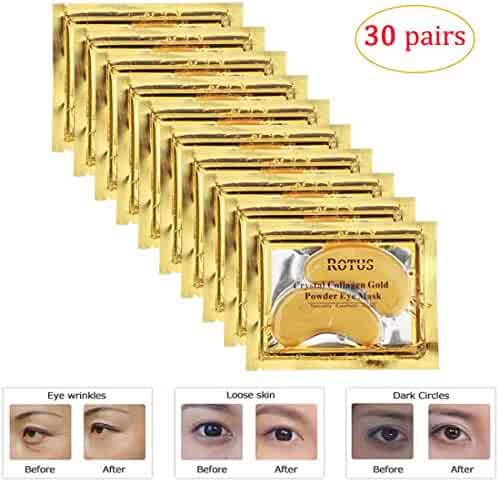 Rotus 30 Pairs Gold Eye Mask Power Crystal Gel Collagen Masks, Great For Anti Aging, Dark Circles & Puffiness
