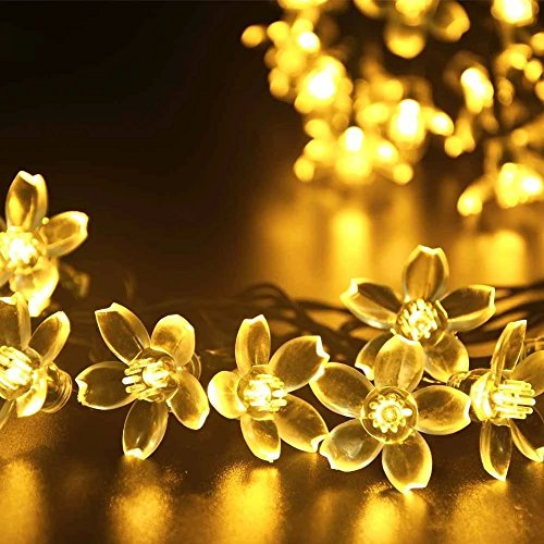 TOP YAO Solar Fairy Warm White String Lights 21ft 50 LED ...