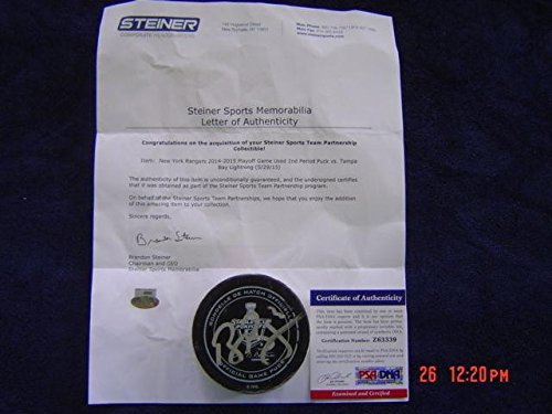 (Tampa Bay Lightning Ben Bishop Game Used Signed 2015 Playoff Puck Steiner - PSA/DNA Certified - Autographed Other Game Used NHL Items)
