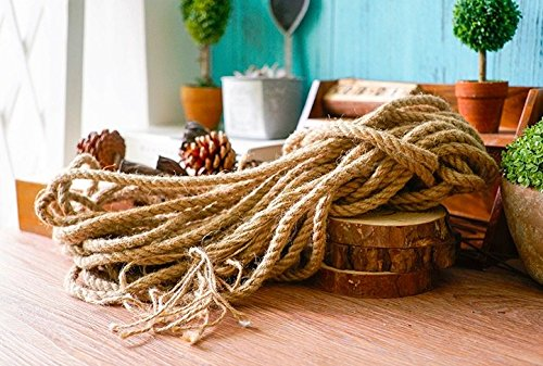 LoveInUSA Natural Manila Hemp Rope 33 Feet 7mm Thickness Tan Brown Natural Rope For Arts Crafts DIY Decoration Gift Wrapping Dock Climbing Hanging Swing