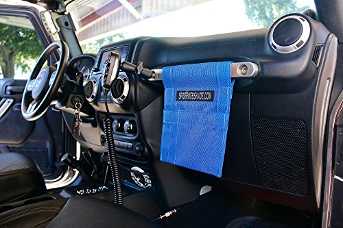 SPIDERWEBSHADE Jeep Wrangler Mesh GrabBag Passenger Accessory Storage Pouch OrganizerUSA Made with 5 Year Warranty in Blue