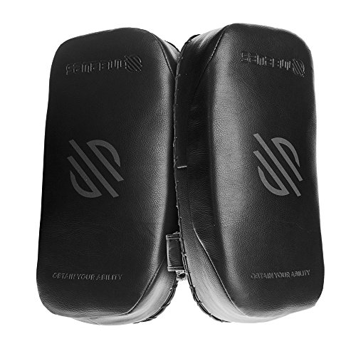 Sanabul Battle Forged Muay Thai Kickboxing Kick Pads (Pair) (Black (Pair), Standard)